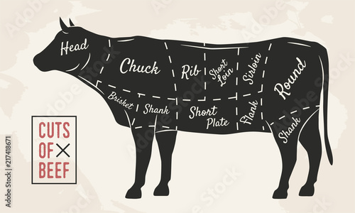 Meat Cuts Beef Cuts Vintage Poster For Restaurant Or Butcher Shop