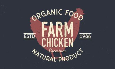 Farm Chicken vintage logo concept. Chicken silhouette Trendy retro style. Vintage poster. Logo Template. Vector illustration