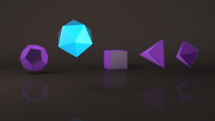 Group, set of geometric shapes, Platonic body, polyhedra, polygonal objects of blue and purple, glowing. Illustration, abstract, background picture of reflections. 3D rendering