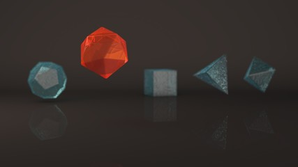 Group, set of geometric shapes, Platonic body, polyhedra, polygonal objects of metals and glass, gold, silver, bronze and stone. Illustration, abstract, background picture of reflections. 3D rendering