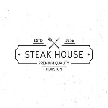 Steak house logo. Grill Restaurant label. Vintage minimal Design. Grunge texture. Vector illustration