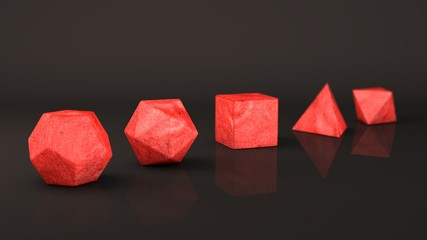A set of Platonic solids, red, the color of volcanic lava. Polygonal shapes, polyhedra in the Studio with a reflective background. Illustration of abstraction. 3D rendering