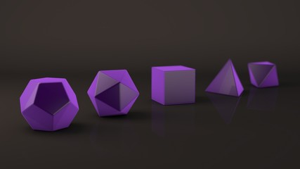 Set of Platonic bodies, purple glow, material, glossy surface. Polygonal shapes, polyhedra in the Studio with a reflective background. Illustration of abstraction. 3D rendering