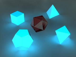 Image, illustration of Platonic bodies, polyhedra, geometric shapes on a dark background glowing blue and one gold, glass. 3D rendering, abstraction, background.