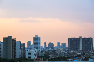 Crowded Bangkok city buildings in the evening