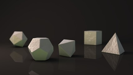 A set of Platonic solids of the white-gray snow, cold, geometric, glossy surface. Polygonal shapes, polyhedra in the Studio with a reflective background. Illustration of abstraction. 3D rendering