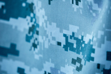 Blue gray colour digital pattern camouflage of navy uniform