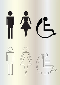 wc icons - toilet man and woman figures - wheelchair icon vector - black silhouette and sketch icons