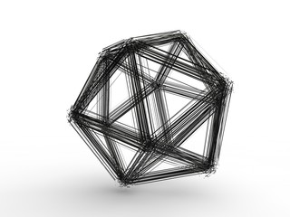 The explosion of multifaceted polygonal geometric shapes on many pieces, the fragments in space. The atomic lattice. Illustration on white background, riddle, 3D rendering