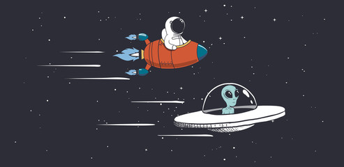 Alien and astronaut are engaged in races in outer space.Vector illustration