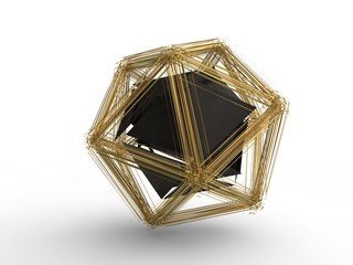 The icosahedron was destroyed by the explosion into many small fragments. Fragments fly to the sides. Illustration isolated on white background. 3D rendering