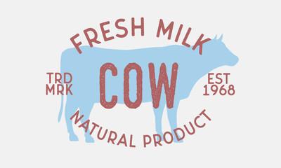 Fresh milk. Vintage logo, retro poster for meat shop, restaurant. Cow silhouette. Logo template. Vector Illustration