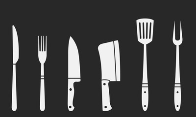 Butcher knives, grill fork and spatula. Fork and knife, meat knife, cleaver, chef, bbq fork. Butcher knives. Set of restaurant and barbecue icons. Vector Illustration