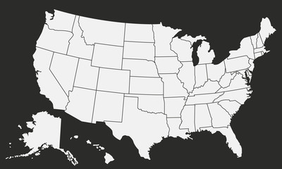 Wall Mural - USA Vector map isolated on black background.