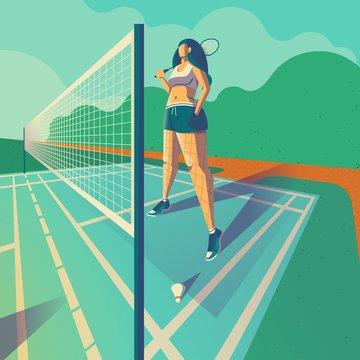 girl standing on badminton court