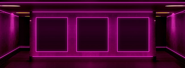 Tunnel in pink neon, background of wall, poster