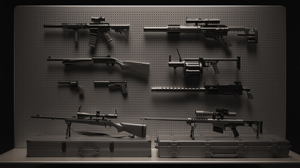 Black and Grey Firearms Display 3d Illustration 3d Rendering