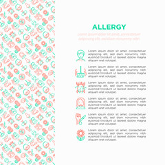 Allergy concept with thin line icons: runny nose, dust, streaming eyes, lactose intolerance, citrus, seafood, gluten free, dust mite, flower, mold, peanut, allergy test, edema. Vector illustration.
