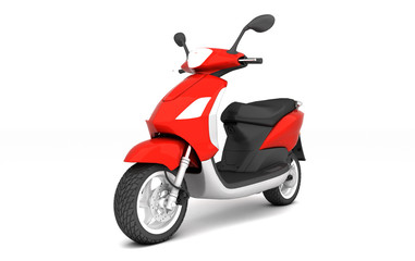 3D Rendering of red modern motor scooter isolated on white background. Front side view of red moped. Perspective. Left side view.