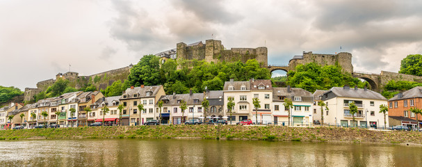 Panoramic view at the embankment of Semois river with old castle in Buillon - Belgium