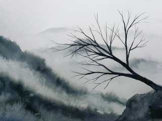 watercolor landscape mountain fog dead dry tree stand alone. traditional oriental ink asia art style