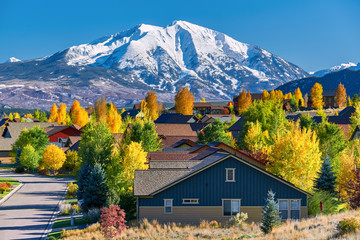 Residential neighborhood in Colorado at autumn Wall mural
