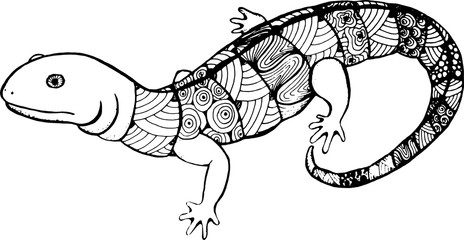 lizard in the style of zentangle