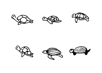 Hand Drawn turtles doodles set. Sketch style icons. Decoration element. Isolated on white background. Flat design. Vector illustration