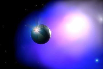 Unbewohnter Planet vor Nebel