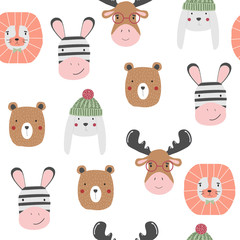 Funny animals faces seamless pattern. Vector hand drawn illustration.