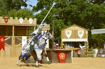 Medieval mounted knight in armour Wall mural
