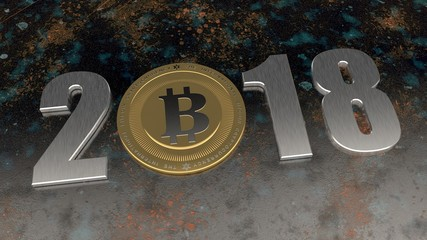 image 2018, cryptocurrency, bitcoin era. The date 2018 zero replaced by bitcoin on the old, rusty metal. The idea of development of crypto-currencies, international money. 3D rendering