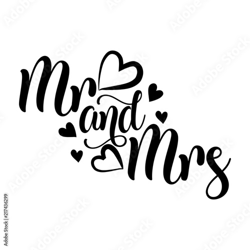 mr and mrs vector typography handwriting romantic lettering hand