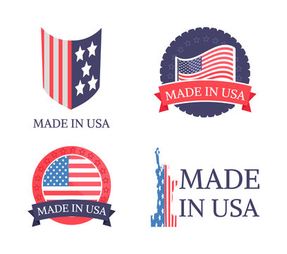 Made in USA Sticker Collection Vector Illustration