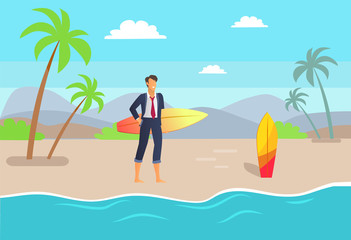 Distant Work and Seaside, Vector Illustration
