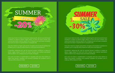 Summer Sale with 30 Off Promo Tropical Banners