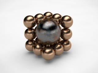 the image of half of a cube formed by bronze balls, spheres and one large bronze metal with scratches sphere isolated on white background. Abstraction 3D rendering. The symbol of order, harmony