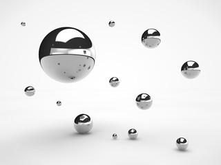 the image of the array floating in space metal of spheres, of different sizes, balls with reflections, the idea of weightlessness, of order and beauty. Illustration on white background. 3D rendering