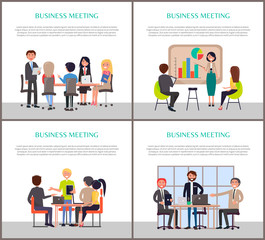Business Meeting Posters with People at Work Set