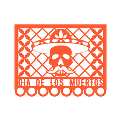 Papel Picado, Mexican paper decorations for party. Paper garland. Cut out compositions for Mexican Day of the Dead. Vector template design.
