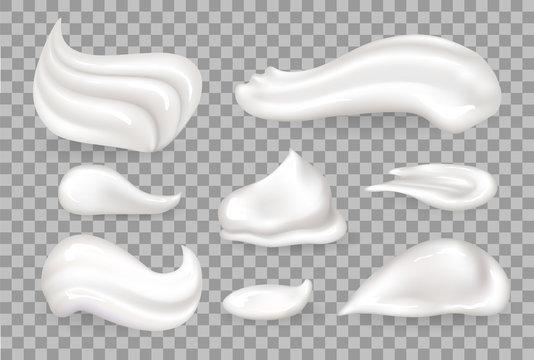 Cream Mousse Set Transparent in Vector Illustration