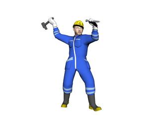 Arbeiter im blauen Overall