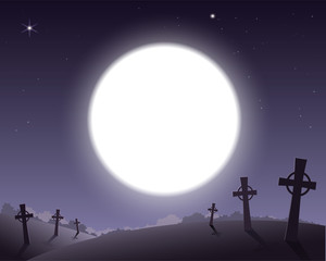 Scary background for Halloween cemetery with crosses and full moon in sky
