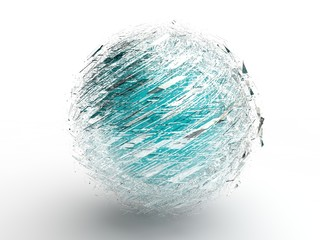image of the blue sphere in the cloud of flying debris, the consequences of the explosion, the idea of birth and liberation. Illustration on white background. 3D rendering