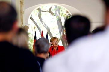Spain's Prime Minister Pedro Sanchez meets with German Chancellor Angela Merkel during her informal two-day visit in Sanlucar de Barrameda