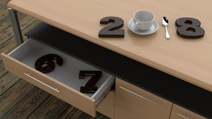 the image is part of Desk with open drawer in which were placed wooden figures of the years 2018, with a plate , Cup and spoon instead of numbers. The view from the top. 3D rendering