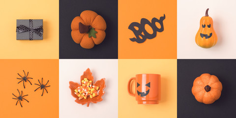 Halloween holiday concept with jack o lantern pumpkin and decorations