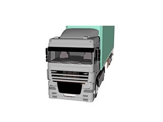 Grüner Lastzug zum Warentransport