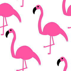 Seamless pattern. Pink flamingos on a white background