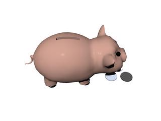 Braunes Sparschwein mit Münzen